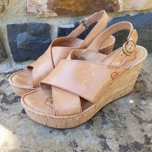 Born Slingback Cork Platform Wedge Sandal Size 8